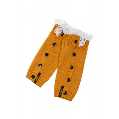Girls Dark Yellow Knit Gaiters