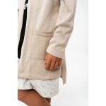 Boys & Girls Dirty Beige Knit Cardigan Coat with Pockets