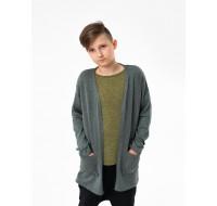 Boys & Girls Gray Mélange Knit Cardigan Coat with Pockets