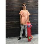 Boys & Girls Short Sleeve Orange & Milk Striped T-Shirt
