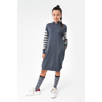 Girls Long Anthracite Mélange Knit Sweatshirt
