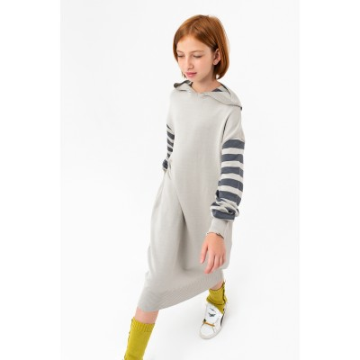 Girls Long Light Gray Mélange Sweatshirt
