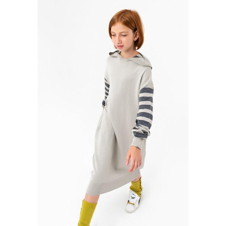 Girls Long Light Gray Mélange Sweatshirt