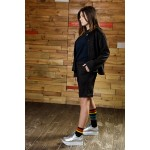 Girls Black Quilted Jacket with Rhombus Strip Pattern