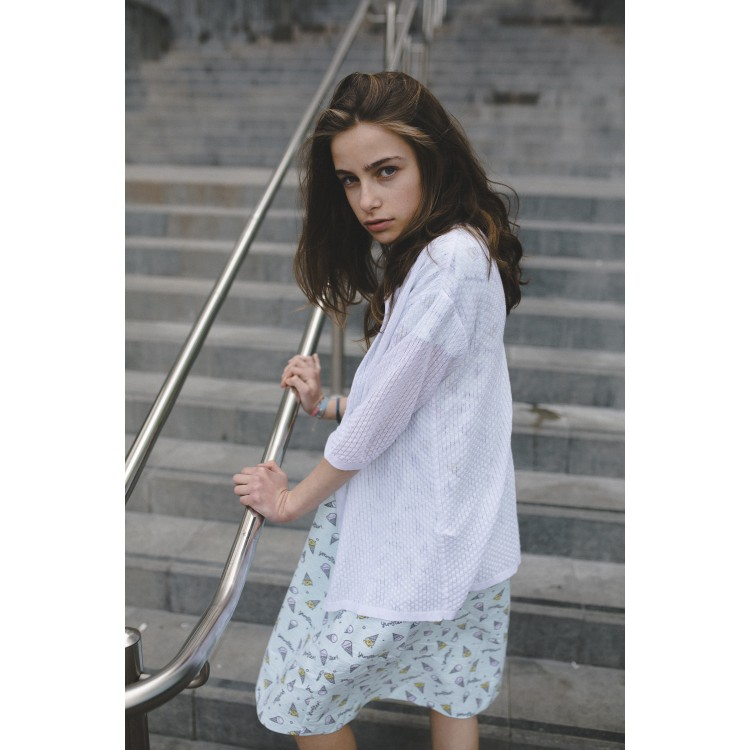 Girls White Openwork Knit Cardigan