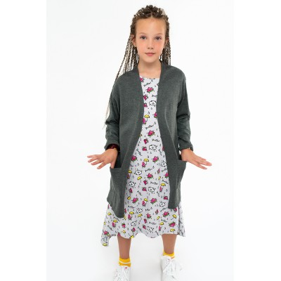 Boys & Girls Gray Mélange Knit Cardigan Coat with Pockets
