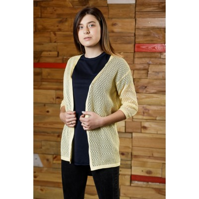 Girls Yellow Openwork Knit Cardigan