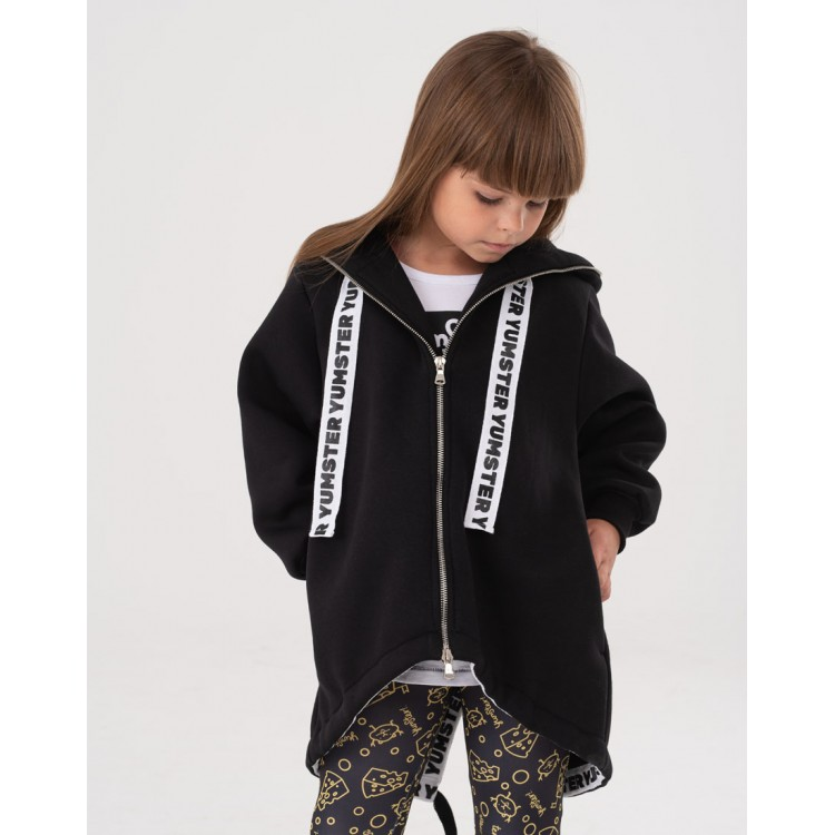 Girls Black Yumster cardigan with stripes