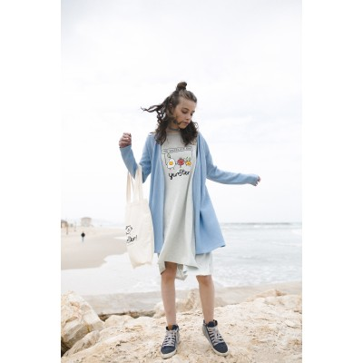 Boys & Girls Blue Knit Cardigan Coat