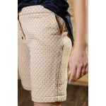Girls Quilted Shorts with Rhombus Strip Pattern