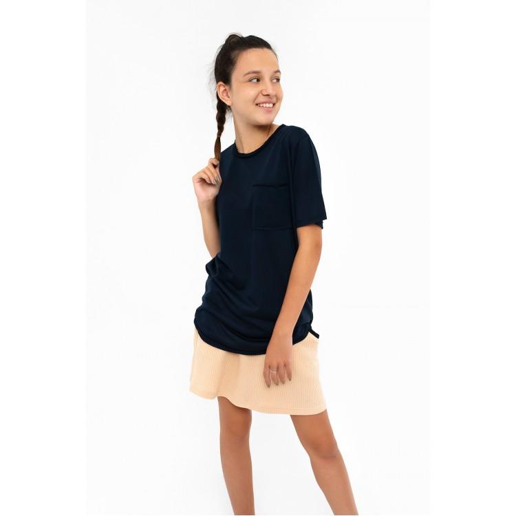 Boys & Girls Short Sleeve Blue T-Shirt with Pocket