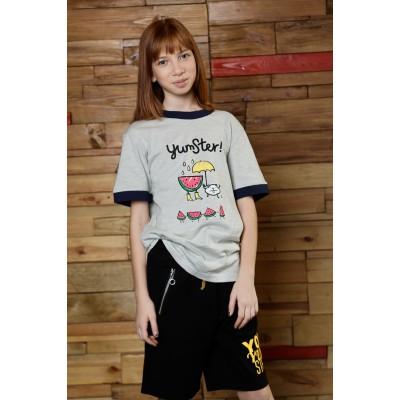 Boys & Girls Yumster Short Sleeve Gray-Green T-Shirt with Navy Strip