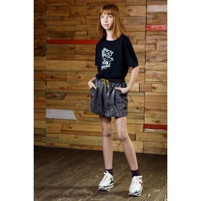 Boys & Girls Yumster Short Sleeve Black T-shirt