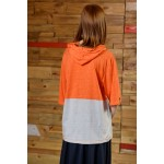 Boys & Girls Short Sleeve Orange & Gray-Green T-Shirt Hoodie