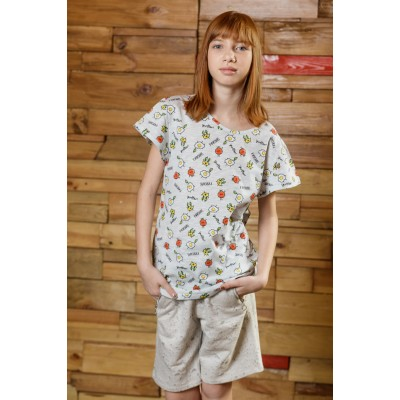 Boys & Girls Short Sleeve Shakshuka White Cotton T-shirt
