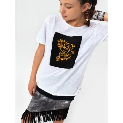 Boys & Girls Yumster Short Sleeve White Cotton T-shirt