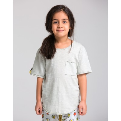 Boys & Girls Short Sleeve Gray-Green T-Shirt with Pocket