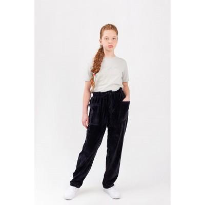 Штаны велюровые тёмно-синие с накладными карманами