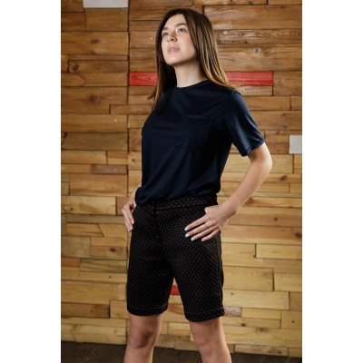 Girls Black Quilted Shorts with Rhombus Strip Pattern