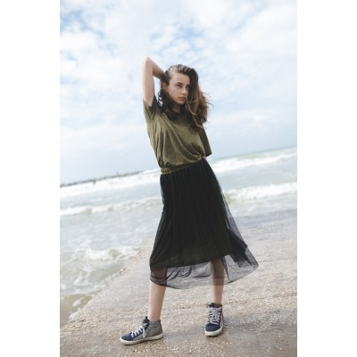 Girls Dark Green Sheer Overlay Skirt