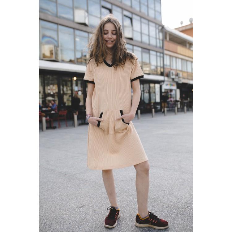 Girls Waffle Beige Yumster dress