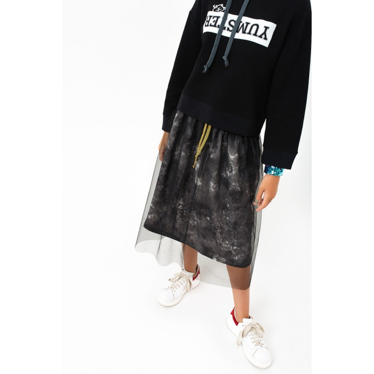 Girls Dark Grey Sheer Overlay Skirt