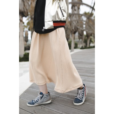 Girls Beige Midi Skirt